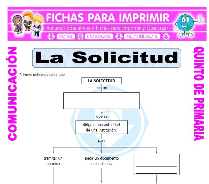 Ficha de La Solicitud para Quinto de Primaria