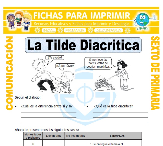 Ficha de La Tilde Diacritica para Sexto de Primaria