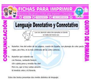 Ficha de Lenguaje Denotativo y Connotativo para Quinto de Primaria