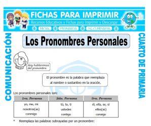 Los Pronombres Personalespara Cuarto de Primaria