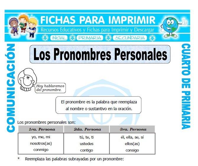 Los Pronombres Personales para Cuarto de Primaria - Fichas Gratis