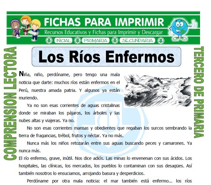 ficha de Los Rios Enfermos para Tercero de Primaria