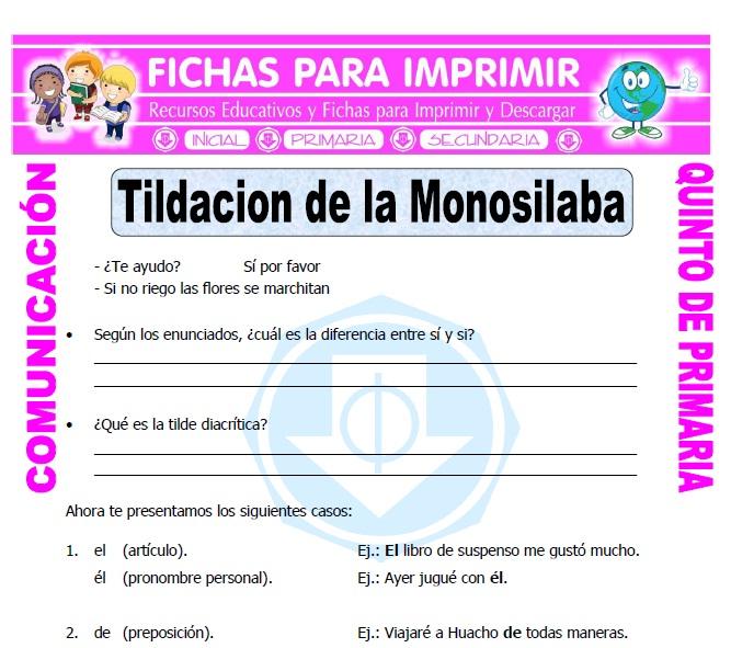 Ficha de Monosilabos con Tilde para Quinto de Primaria