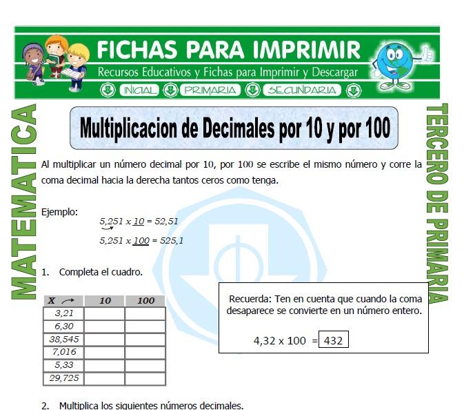 ficha de Multiplicacion de Decimales por 10 para Tercero de Primaria