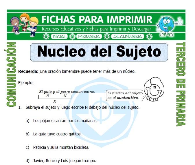 Ficha de Nucleo del Sujeto para Tercero de Primaria