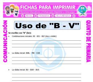 Ficha de Palabras con B y V para Quinto de Primaria