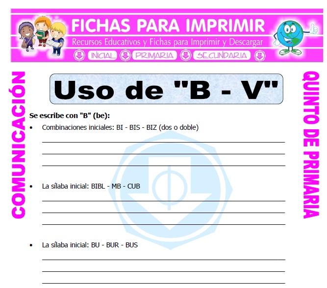 Comunicacion Integral para Niños de Quinto de Primaria - Fichas Gratis