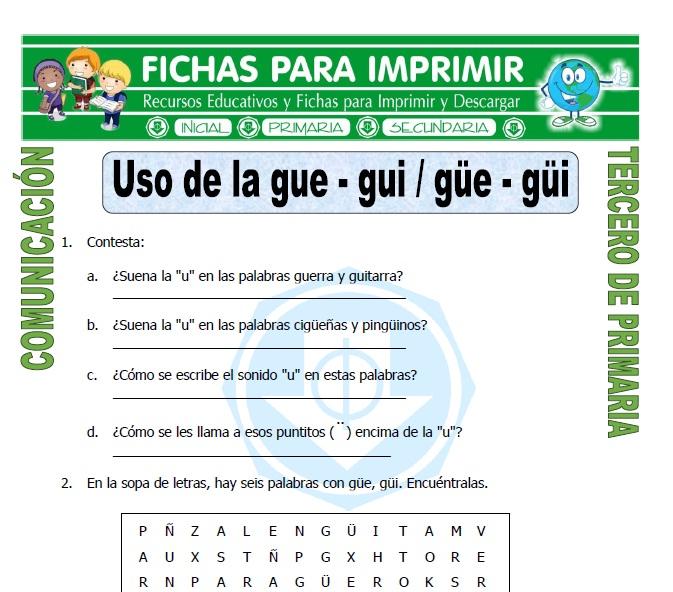 Palabras Con Gue Y Gui Para Tercero De Primaria Fichas Para Imprimir