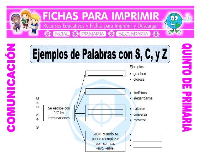 Ficha de Palabras con Z C y S para Quinto de Primaria