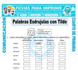ficha de Palabras Esdrujulas con Tilde para Cuarto de Primaria