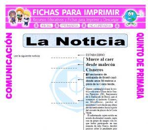 Ficha de Partes de la Noticia para Quinto de Primaria