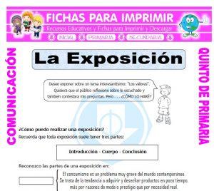 Ficha de Partes de una Exposicion para Quinto de Primaria