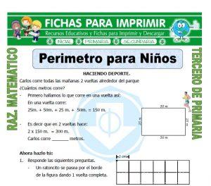 Ficha de Perimetro para Niños para Tercero de Primaria