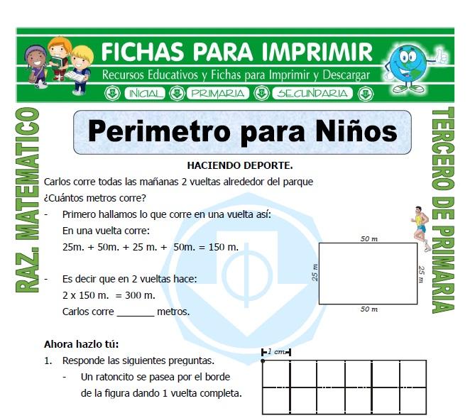 Perimetro para Niños para Tercero de Primaria - Fichas para Imprimir