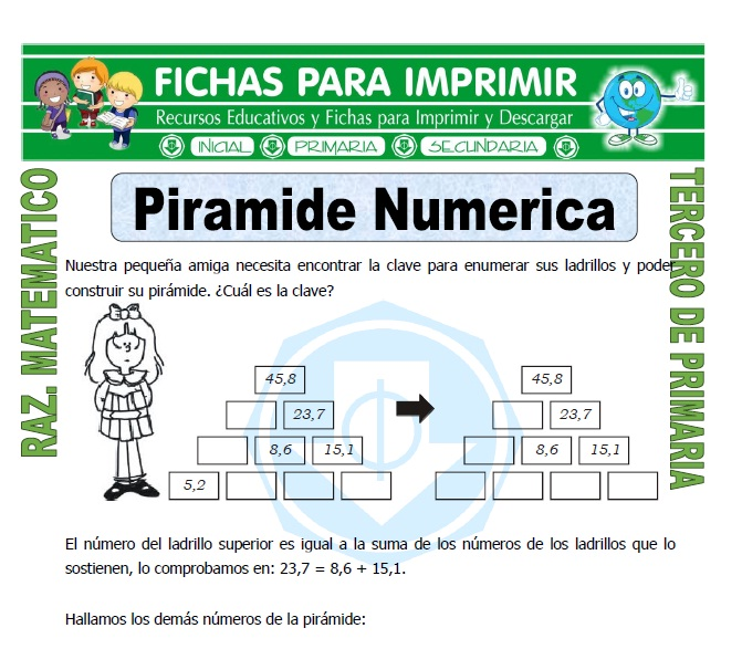 Ficha de Piramide Numerica para Tercero de Primaria