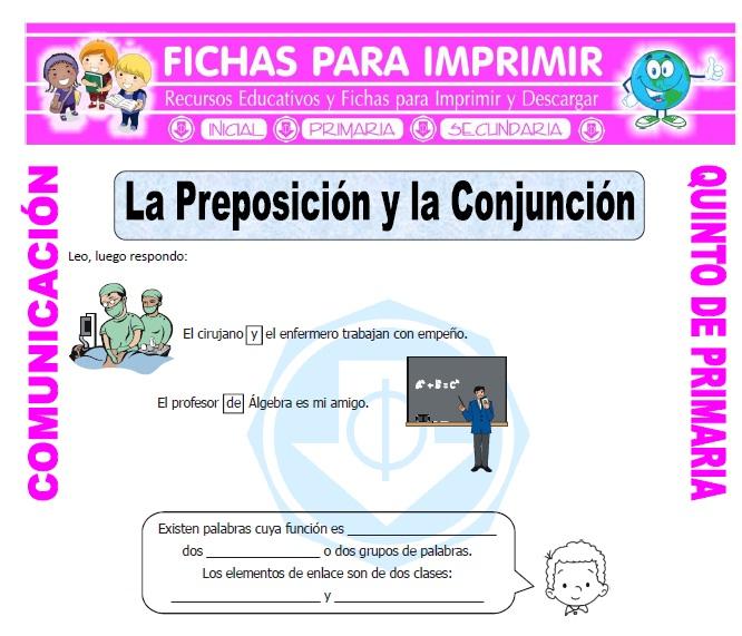 Ficha de Preposiciones y Conjunciones para Quinto de Primaria