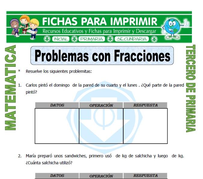 Problemas con Fracciones para Tercero de Primaria - Fichas para Imprimir