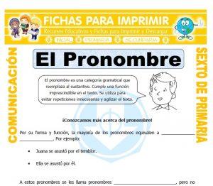 Ficha de Pronombre Definicion para Sexto de Primaria
