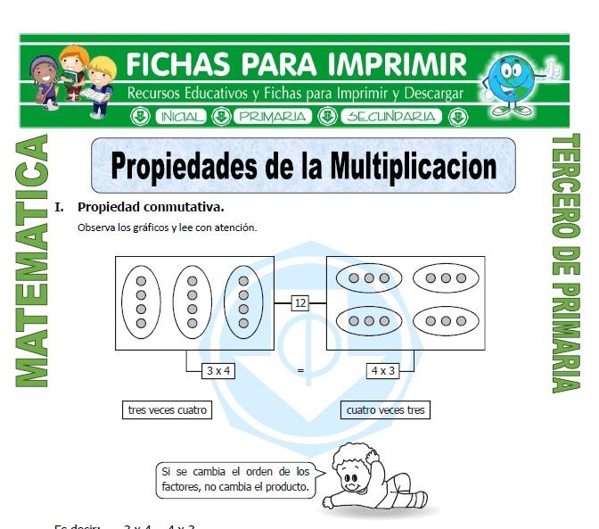 ficha de Propiedades de la Multiplicacion para Tercero de Primaria