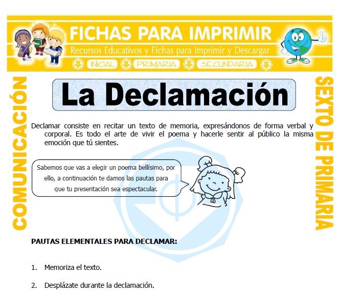 Ficha de Que es Declamar para Sexto de Primaria