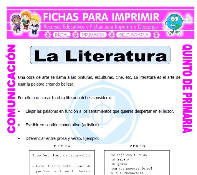 Ficha de Que es la Literatura para Quinto de Primaria