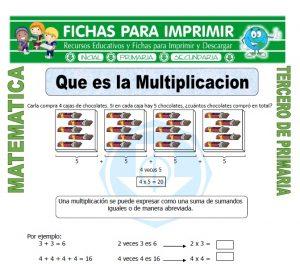 ficha de Que es la Multiplicacion para Tercero de Primaria