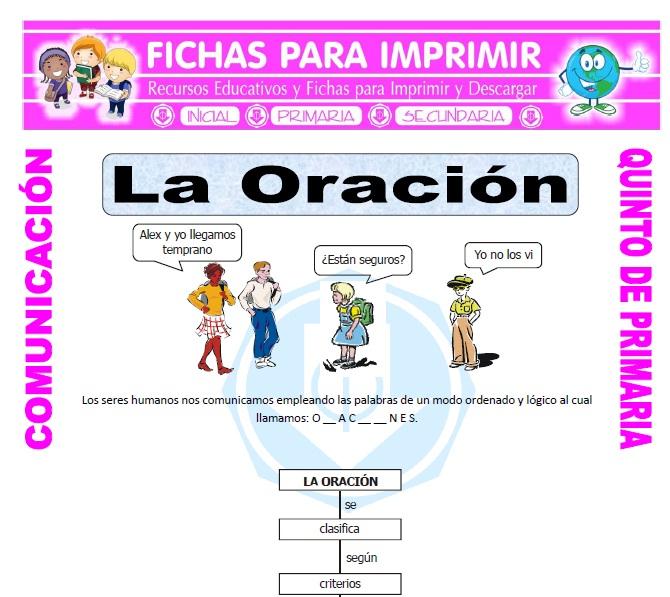 Ficha de Que es la Oracion para Quinto de Primaria