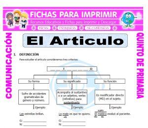 Ficha de Que es un Articulo para Quinto de Primaria