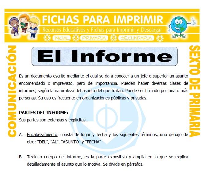 Ficha de Que es un Informe para Sexto de Primaria