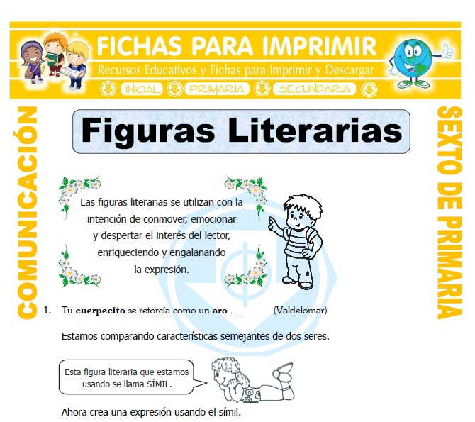 Ficha de Que son las Figuras Literarias para Sexto de Primaria