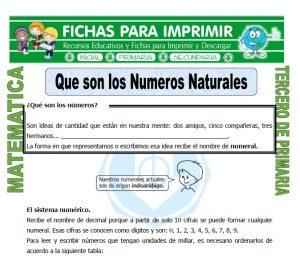 ficha de Que son los Numeros Naturales para Tercero de Primaria