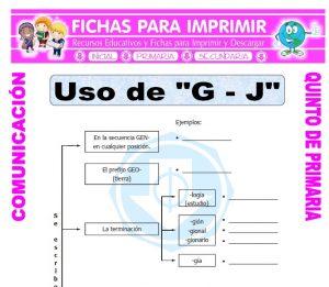 Ficha de Reglas de la G para Quinto de Primaria