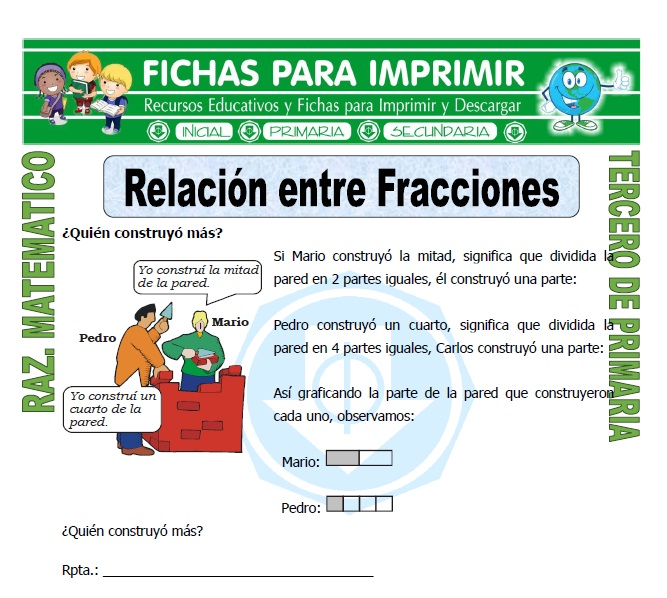 Ficha de Relación entre Fracciones para Tercero de Primaria
