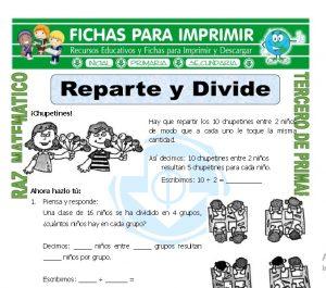 Ficha de Reparte y Divide para Tercero de Primaria