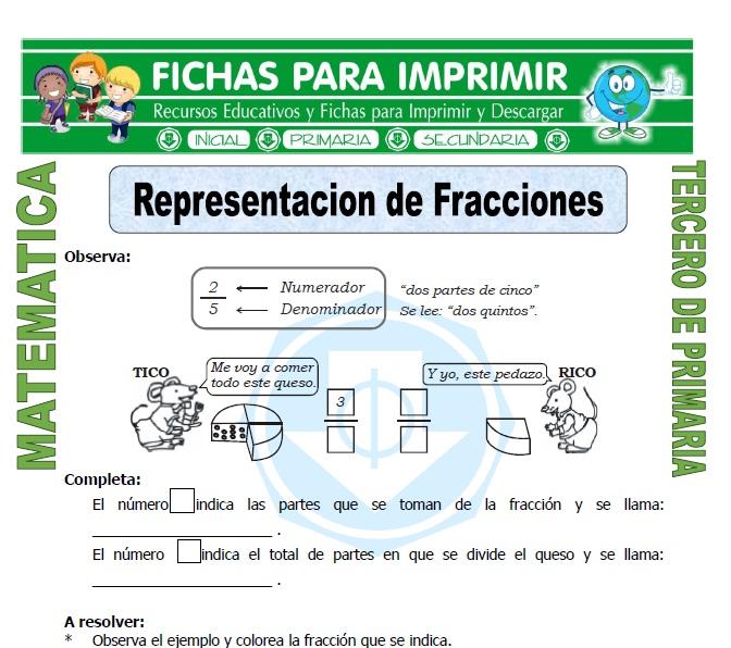 ficha de Representacion de Fracciones para Tercero de Primaria
