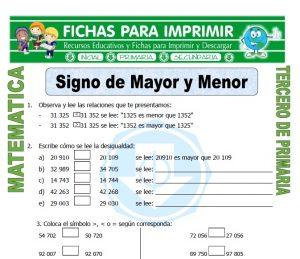 ficha de Signo de Mayor y Menor para Tercero de Primaria