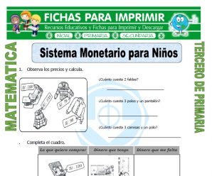 Sistema Monetario para Niños para Tercero de Primaria