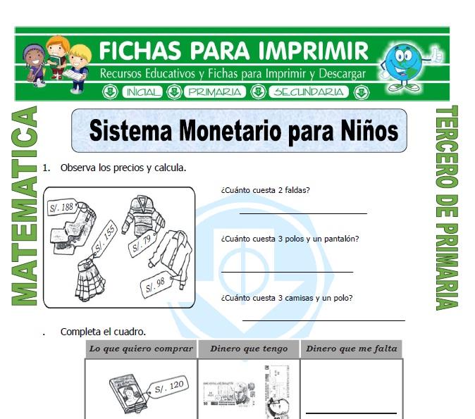 ficha de Sistema Monetario para Niños para Tercero de Primaria