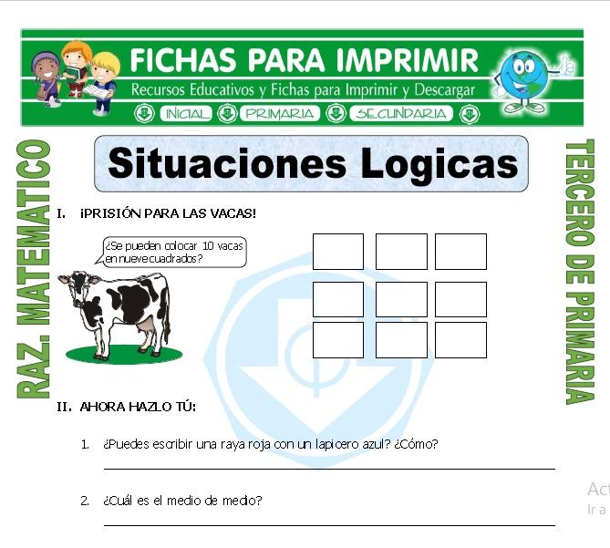 Ficha de Situaciones Logicas para Tercero de Primaria