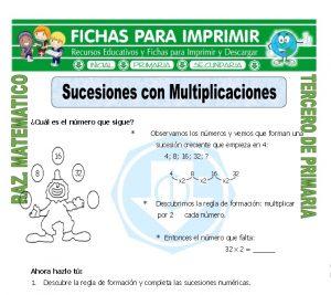 Ficha de Sucesiones con Multiplicaciones para Tercero de Primaria