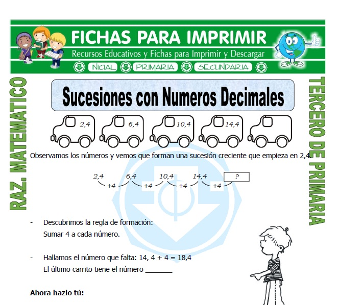 Ficha de Sucesiones con Numeros Decimales para Tercero de Primaria