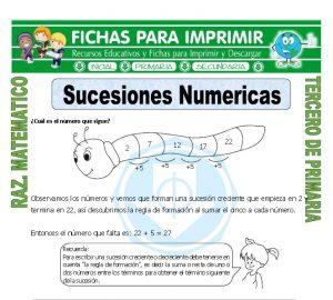 Ficha de Sucesiones Numericas para Tercero de Primaria