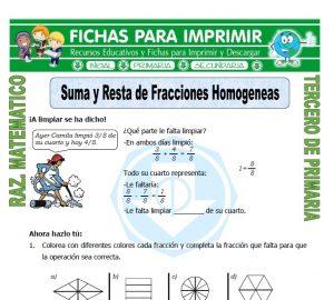 Ficha de Suma y Resta de Fracciones Homogeneas para Tercero de Primaria