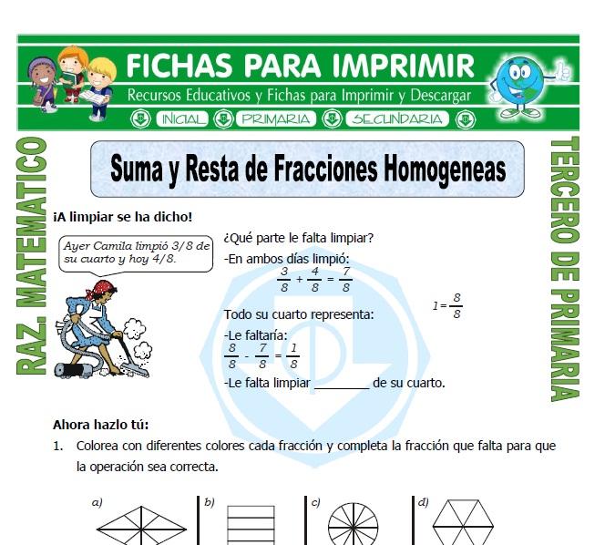 Suma y Resta de Fracciones Homogeneas para Tercero de Primaria ...