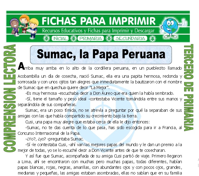 ficha de Sumac la Papa Peruana para Tercero de Primaria