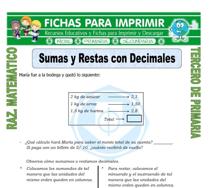 Ficha de Sumas y Restas con Decimales para Tercero de Primaria