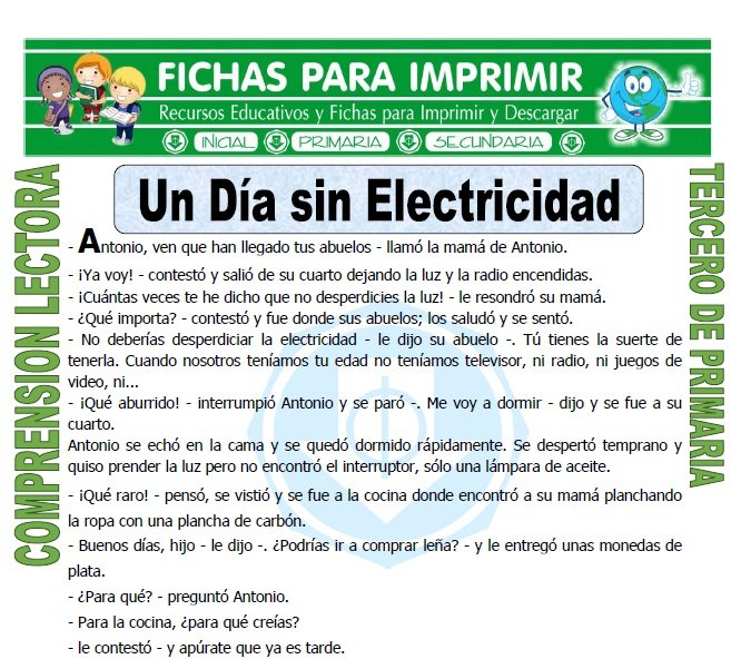 Un Dia sin Electricidad para Tercero de Primaria