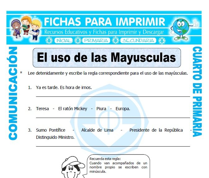 Uso de las mayusculas ejercicios para cuarto de primaria for Cuarto primaria