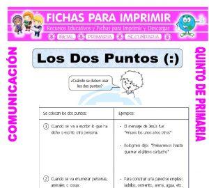 Ficha de Uso de los Dos Puntos Ejemplos para Quinto de Primaria