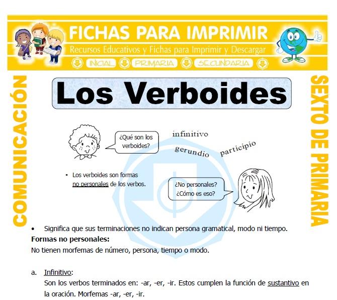 Ficha de Verboides para Sexto de Primaria